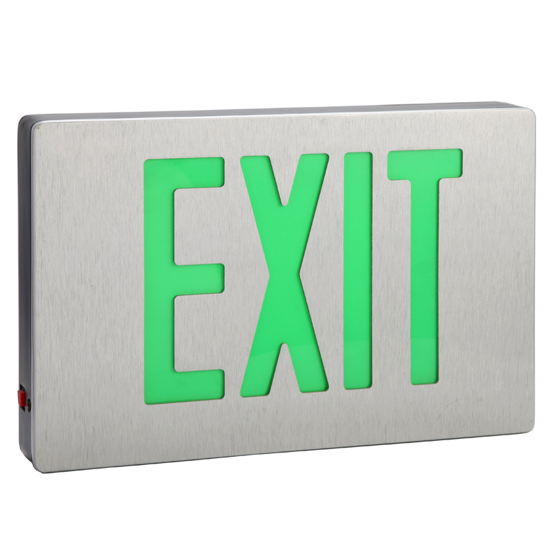 Green letter exit sign