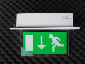 exit sign arrow up or down