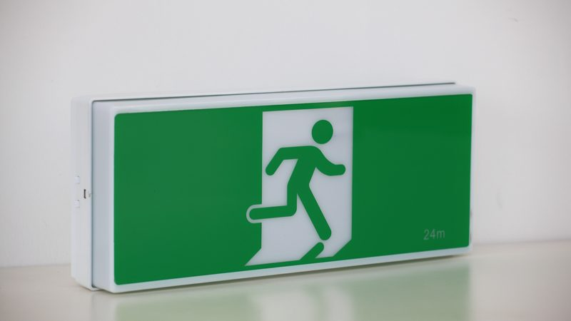 wall mounted exit sign
